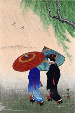 two beauties in rain 1935 Ohara Koson Japanese Oil Paintings