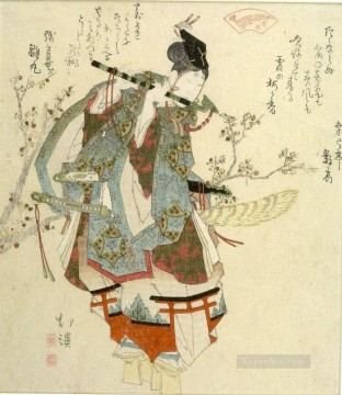 Japanese Painting - ushikawa playing his flute issued by the seirei akabaren Totoya Hokkei Japanese
