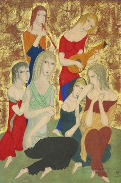 horce races racing Painting - Six Graces Leonard Tsuguharu Foujita Japanese