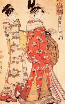 Hour Painting - illustration from the twelve hours of the green houses c 1795 Kitagawa Utamaro Japanese