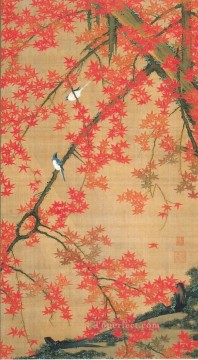 small Art - maple tree and small birds Ito Jakuchu Japanese