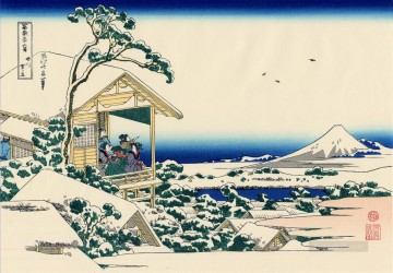 Katsushika Canvas - tea house at koishikawa the morning after a snowfall Katsushika Hokusai Japanese