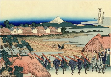 Katsushika Canvas - the fuji seen from the gay quarter in senju Katsushika Hokusai Japanese