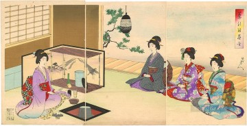 Japanese Painting - The Tea Ceremony of beautiful women Toyohara Chikanobu Japanese