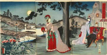 Chikanobu Art Painting - The emperor enjoying the cool evening Toyohara Chikanobu Japanese
