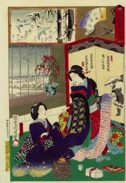 Chikanobu Art Painting - Two women reading a letter Toyohara Chikanobu Japanese