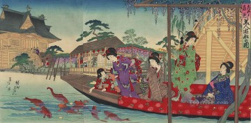 women Painting - A scene of women enjoying a boat ride in front of the Kameido Tenjin Shrine Toyohara Chikanobu Japanese