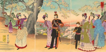 Japanese Painting - The Emperor Empress Crown Prince and court ladies on an outing to Asuka Park Toyohara Chikanobu Japanese