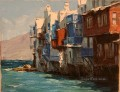 Little Venice in Mykonos Aegean painting