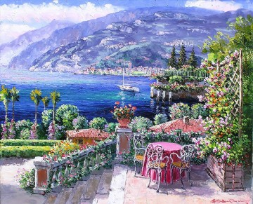 Aegean and Mediterranean Painting - Garden of Bellagio Aegean Mediterranean