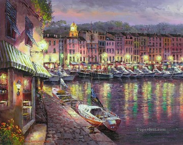 Aegean and Mediterranean Painting - Night View of St Tropez Aegean Mediterranean