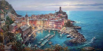 Aegean and Mediterranean Painting - Moonlight in Vernazza Italy scenery