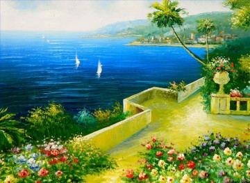 Mediterranean Flower Garden Beach Oil Paintings