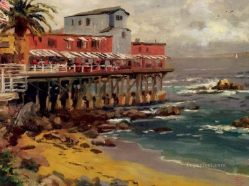 A View From Cannery Row Monterey Thomas Kinkade Beach Oil Paintings