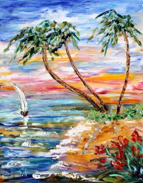 Sunset Sailing 2 Beach Oil Paintings