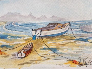 watercolor painting - boat on beach watercolor