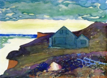 Landscapes Painting - house on the point George luks watercolor beach landscape