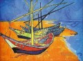 Fishing Boats on the Beach at Saintes Maries de la Mer Vincent van Gogh