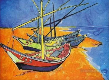 Fishing Boats on the Beach at Saintes Maries de la Mer Vincent van Gogh Oil Paintings