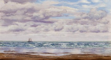 Coast Painting - Gathering Clouds A Fishing Boat Off The Coast seascape Brett John Beach