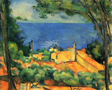 L Estaque with Red Roofs Paul Cezanne Beach Oil Paintings