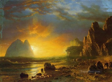 Coast Painting - Sunset on the Coast Albert Bierstadt Beach