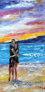 Wedding Couple seaside sunset Beach Oil Paintings
