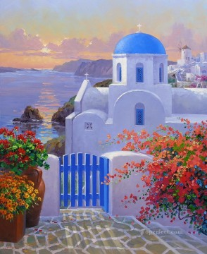 a touch of greece Beach Oil Paintings