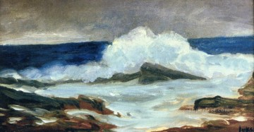 breaking surf George luks waves seascape beach landscape Oil Paintings