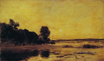 by the sea Barbizon Impressionism landscape Charles Francois Daubigny Beach Oil Paintings