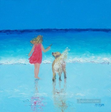 girl and dog beaside Oil Paintings