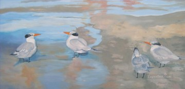 terns on the beach florida Oil Paintings