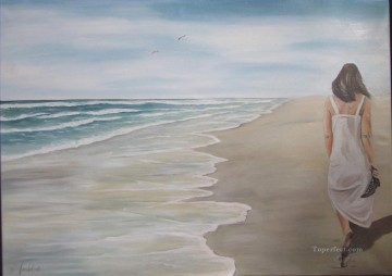 woman walk at beach watermark Oil Paintings