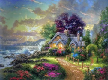 Dawn Painting - A New Day Dawning Thomas Kinkade Beach