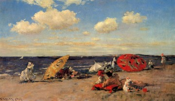 At the Seaside impressionism William Merritt Chase Beach Oil Paintings