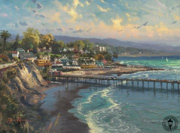 Capitola Village Thomas Kinkade Beach Oil Paintings