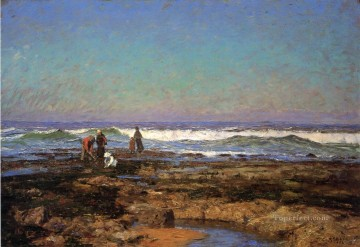 Beach Painting - Clam Diggers Impressionist Indiana landscapes Theodore Clement Steele Beach