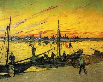 vincent van gogh Painting - Coal Barges Vincent van Gogh Beach