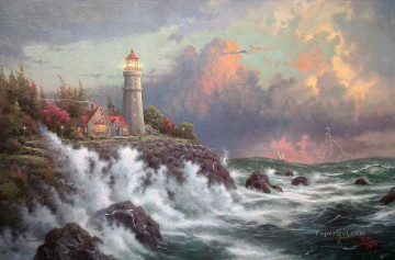 Beach Painting - Conquering The Storms Thomas Kinkade Beach