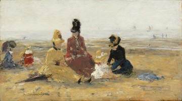 Beach Painting - Eugene Boudin On the Beach Trouville