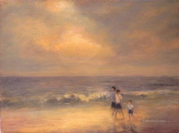 Evening Beach Stroll Oil Paintings