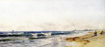 Beach Painting - Far Rockaway Beach modern beachside Alfred Thompson Bricher