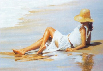 Girl on beach油画、国画
