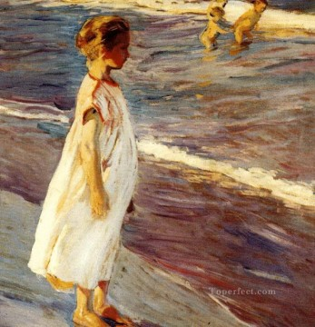 Beach Painting - Joaquin Sorolla girl at beach