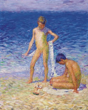 Beach Painting - John Peter Russell Boys on the Beach