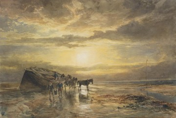 Beach Painting - Loading the catch on the Berwick coast Samuel Bough beach