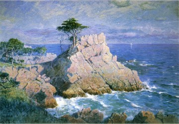 Beach Painting - Midway Point California aka Cypress Point near Monterey scenery William Stanley Haseltine Beach