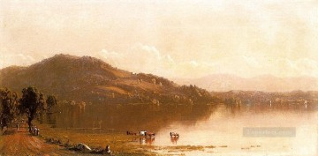 Mt Merino on the Hudson near Olana scenery Sanford Robinson Gifford Beach Oil Paintings