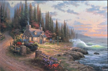 Beach Painting - Pine Cove Cottage Thomas Kinkade Beach