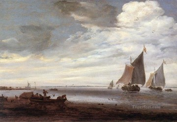 Beach Painting - River boat seascape Salomon van Ruysdael Beach